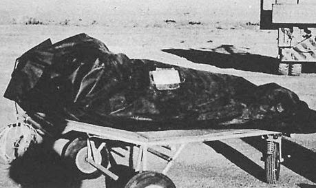 This photo from the Air Force's The Roswell Report shows one of test dummies in its insulation bag
