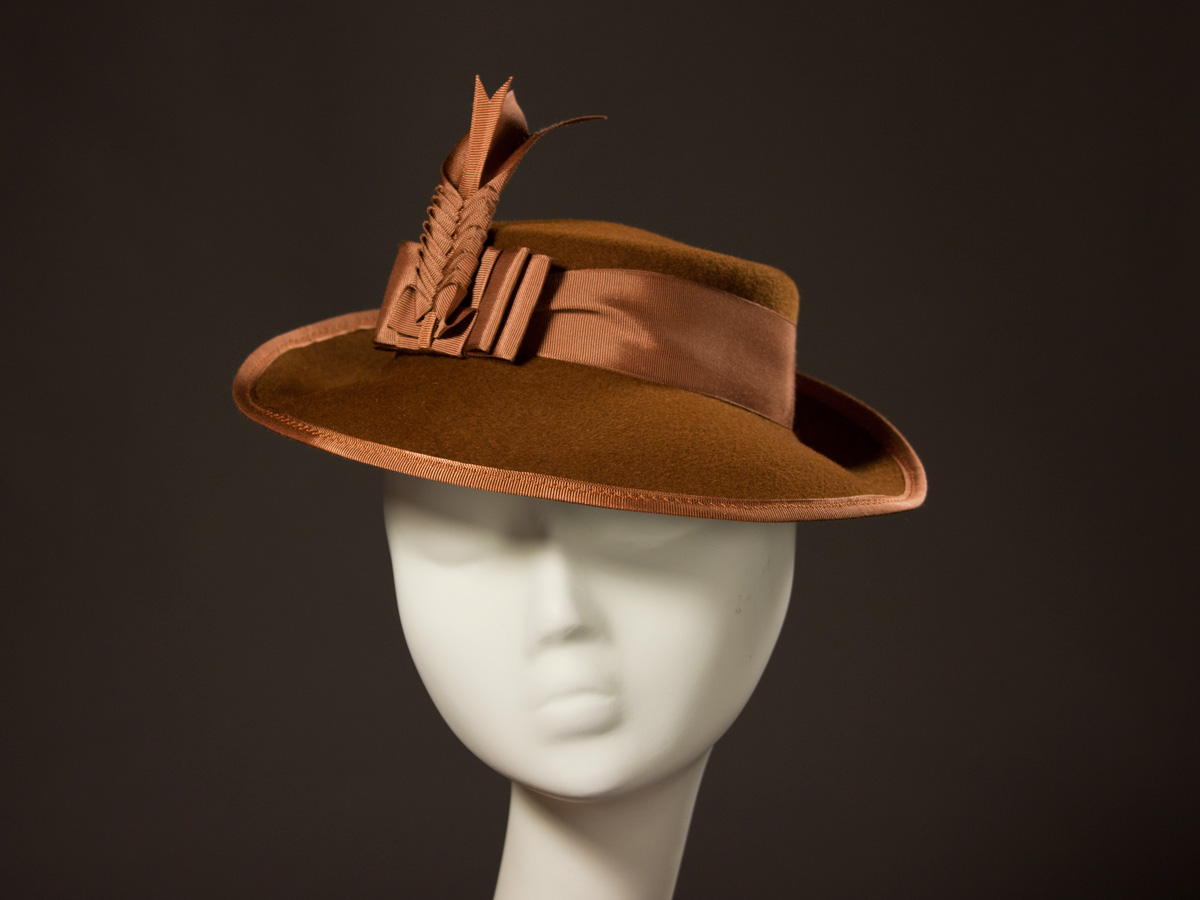 5b64b3a4391b 'Wellington' now in leopard print long-nap felt and chocolate brown ribbon  trim and feathers.