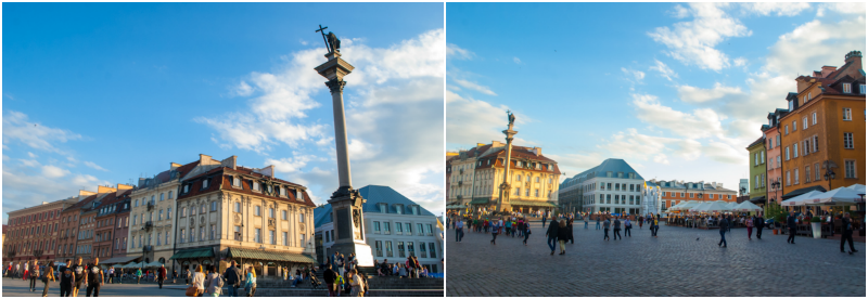 Pictures of the castle square in warsaw poland collage