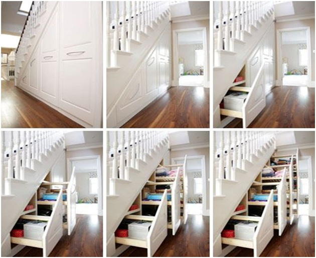 Drawers under the stair maximize the space beautiful stairs for Under stairs drawers plans