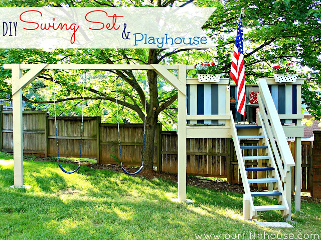 Our Fifth House -diy swing set and kids playhouse