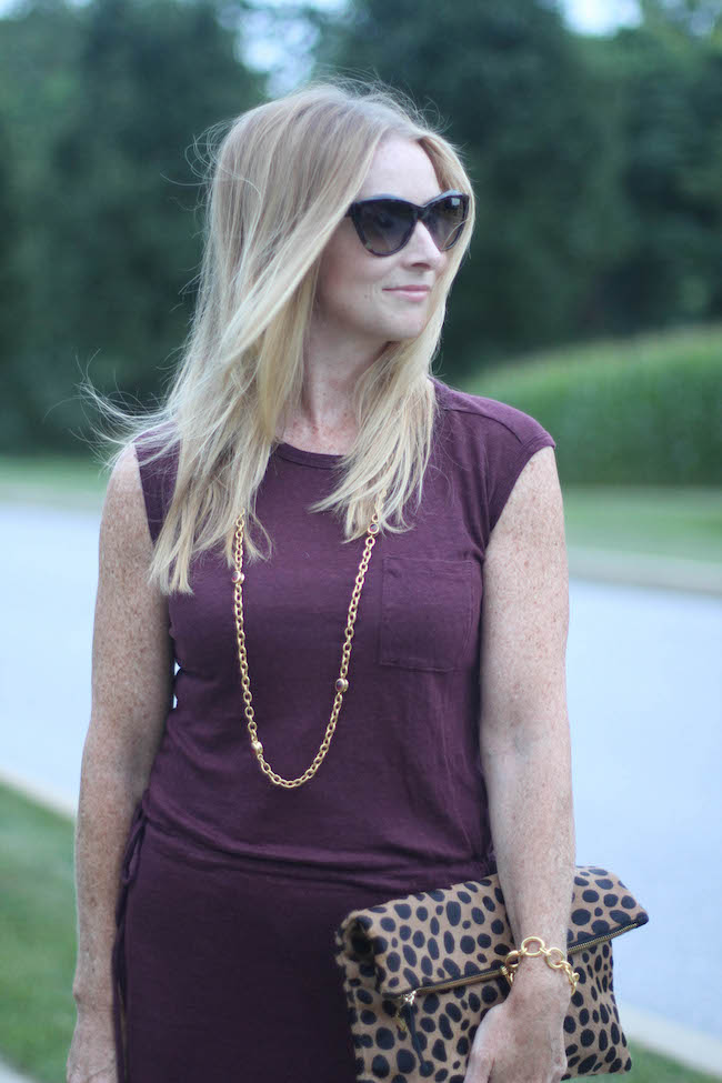 saint laurent sunglasses, gap dress, clare v clutch, julie vos necklace