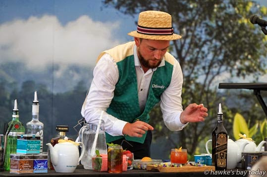 James Millar, bartender, Orleans Britomart, Downtown Auckland, creating cocktails at a Dilmah High Tea session. photograph