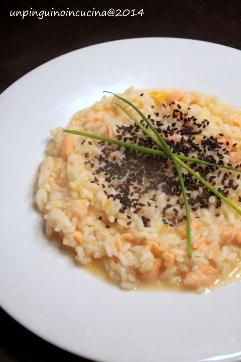 risotto con salmone affumicato e cachi