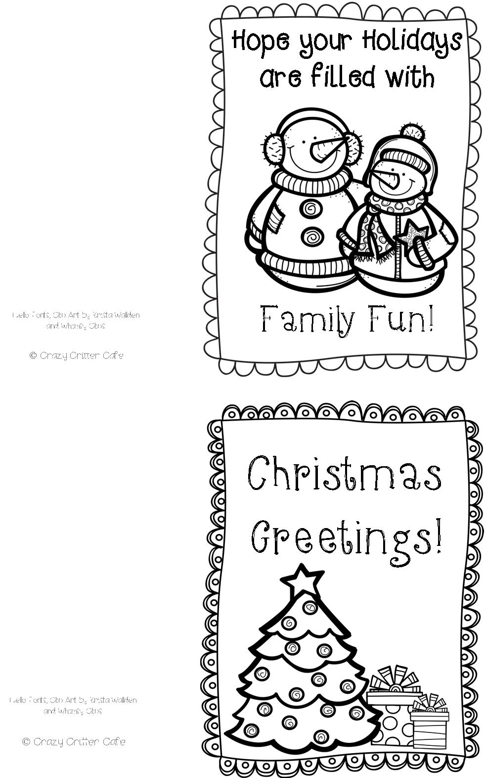 crazy critter cafe freebie 3 color your own christmas cards