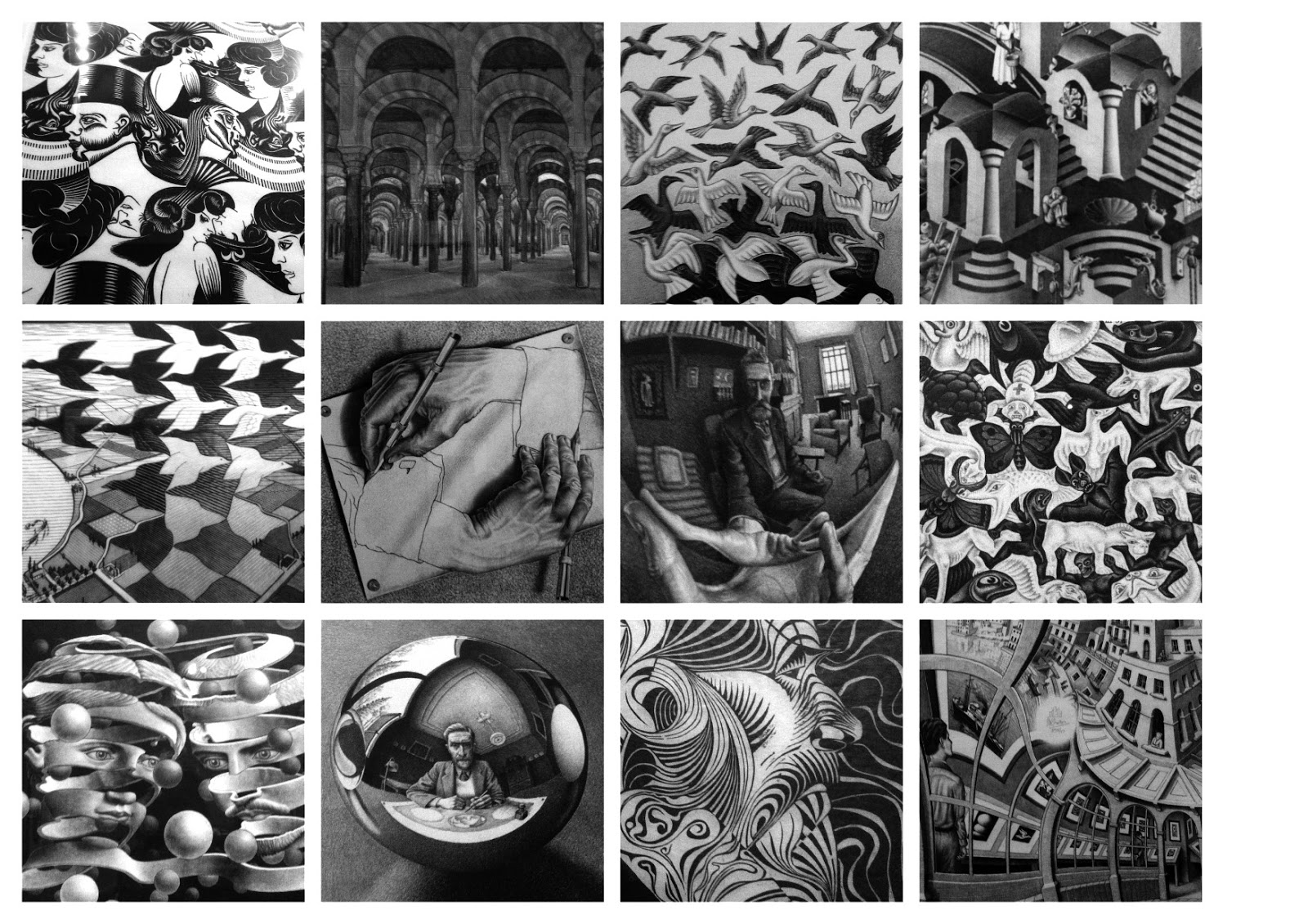 a description of though mc escher on virtually nothing about mathematics Mc escher site home escher techniques mc escher art gallery buy or sell original escher mc escher was an artist equipped with the curiosity of a child where some people saw a it's the latter, those who know nothing about escher, that are the most fun to watch.