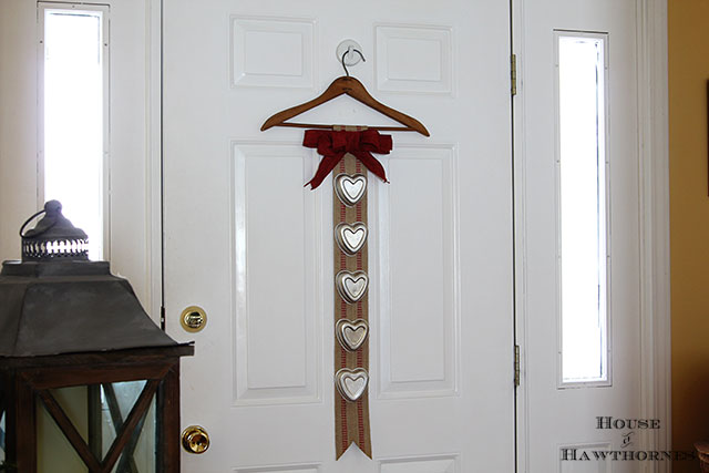 DIY Valentine's Day banner made with heart shaped jello molds and upholstery webbing
