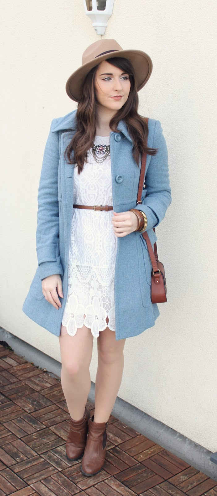 boho-style-white-lace-dress-from-boohoo-and-blue-coat