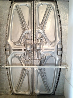Geiger alien doors in the Giger museum Gruyeres, Switzerland