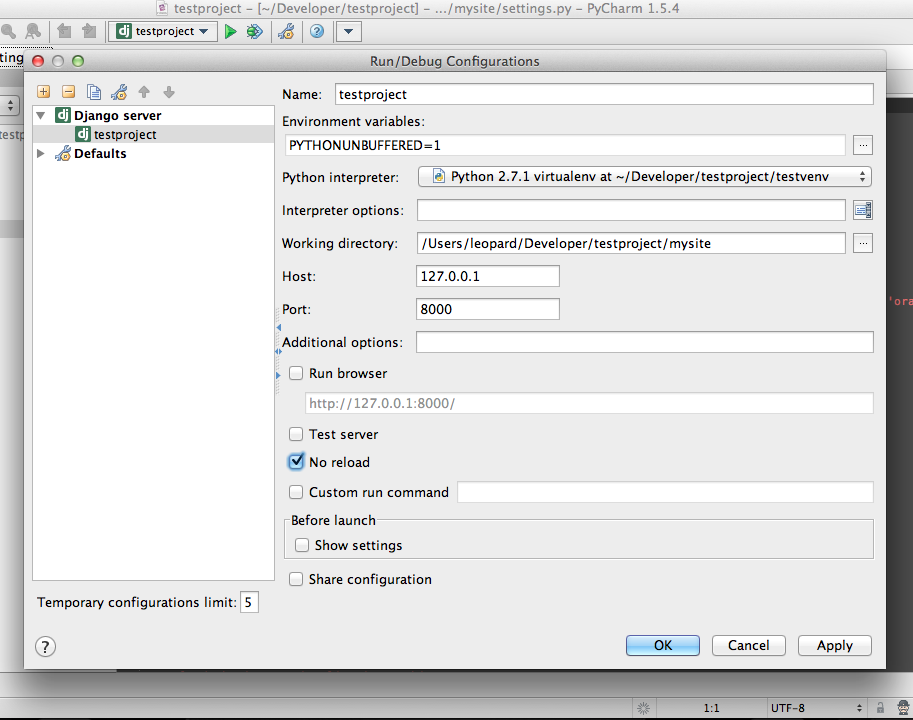 pycharm django is not importable in this environment