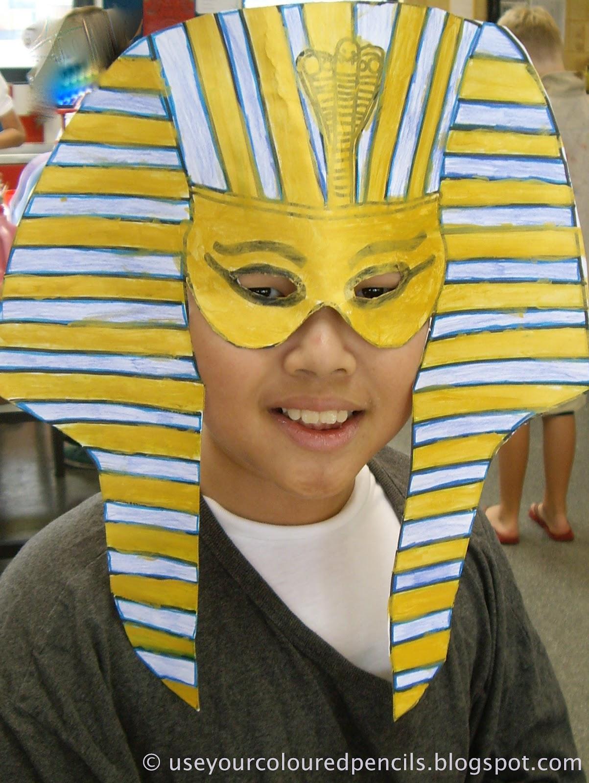 Use Your Coloured Pencils Tutankhamun Masks