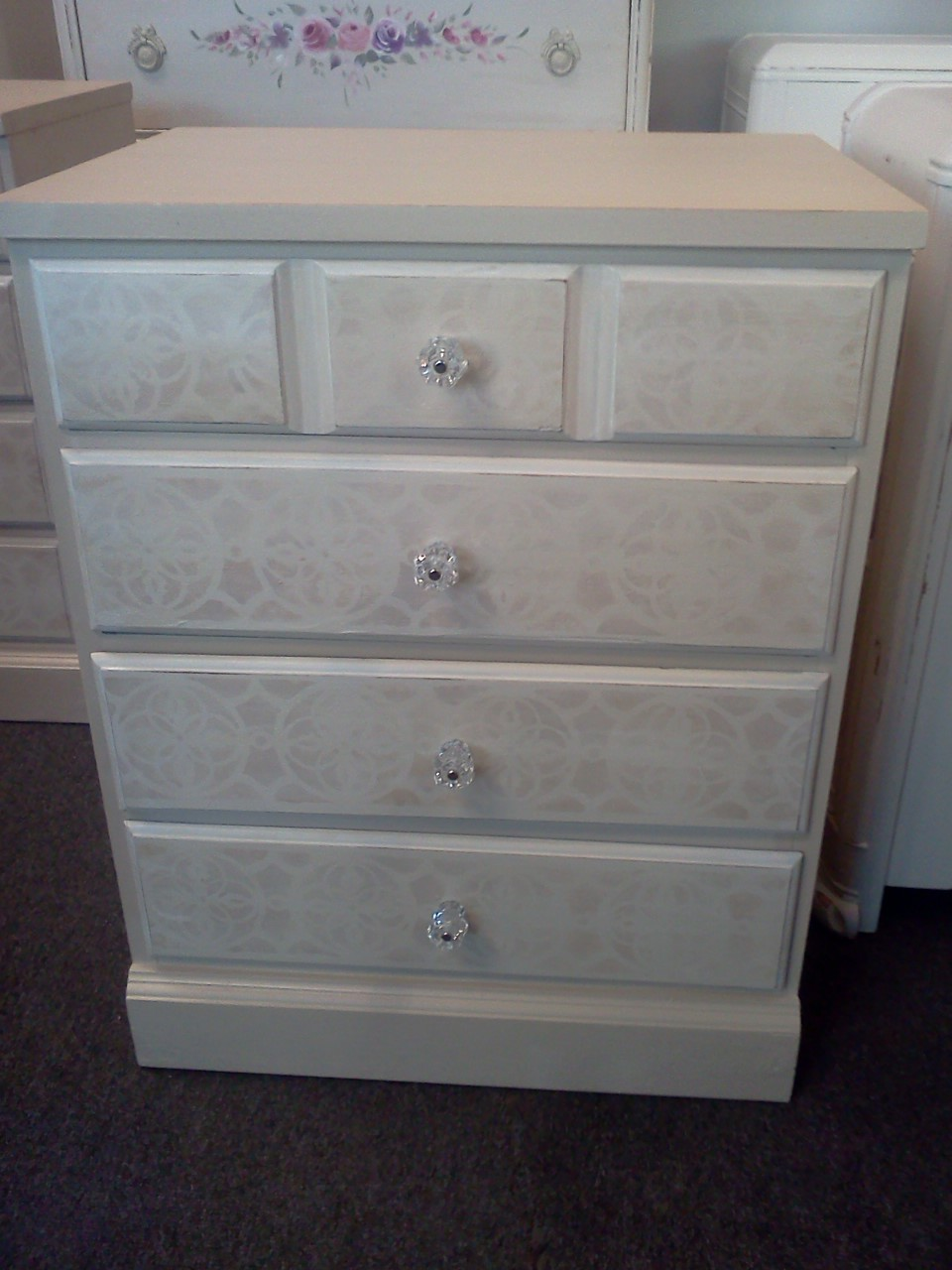 Pair Of Vintage Night Stands Painted Beige With Off White Drawers And A  Handpainted Faded Background On The Drawers. New Glass Knobs Have Been  Added.