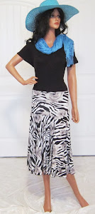 Classic Black and White Floral and Zebra Print in a full circle stretch knit jerseyi