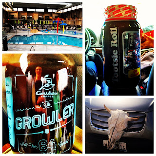 awesome pool, tons of tootsie pops, a growler of coffee, and a buffalo skull