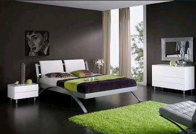 I complementi d'arredo di colore verde nella camera da letto