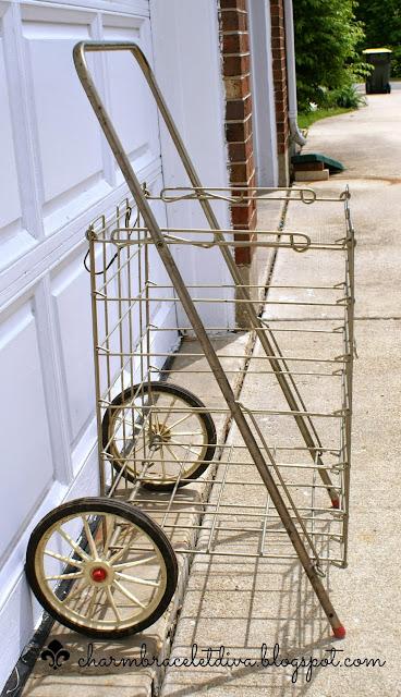 vintage rolling metal cart