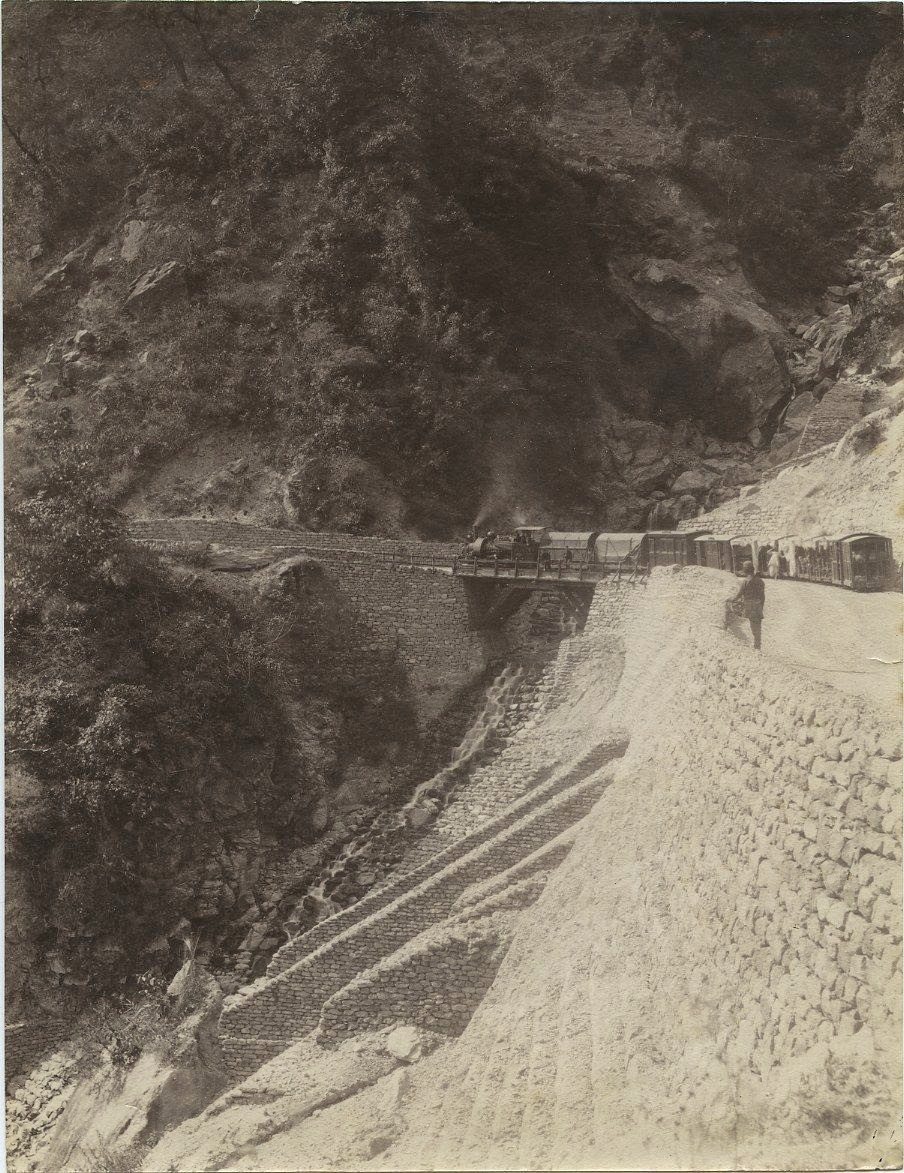 A Train in Upper Paglajhora in Darjeeling -  India c1880s