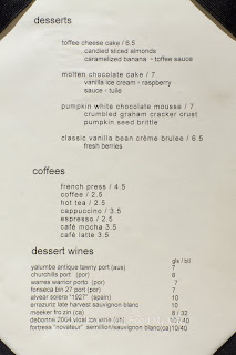 Thyme Dessert Menu