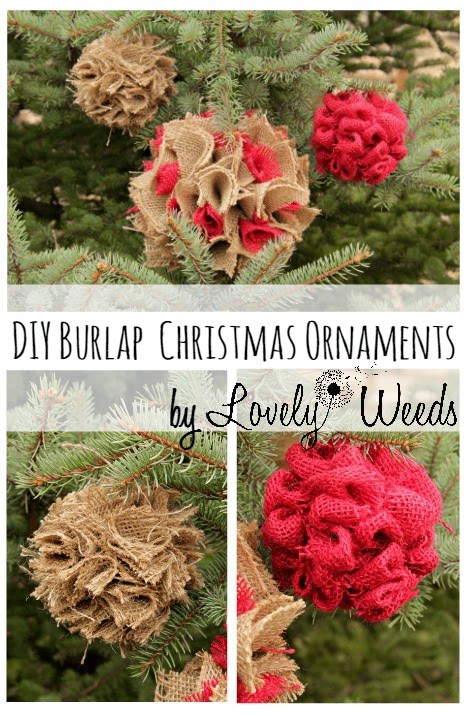 Step by step tutorial on how to make your own burlap ornaments for beautifully rustic Christmas decor!