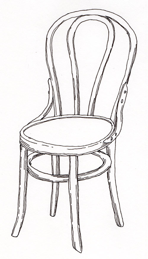 Line Drawing Chair : Pen pencil paper—draw contour drawing of a chair