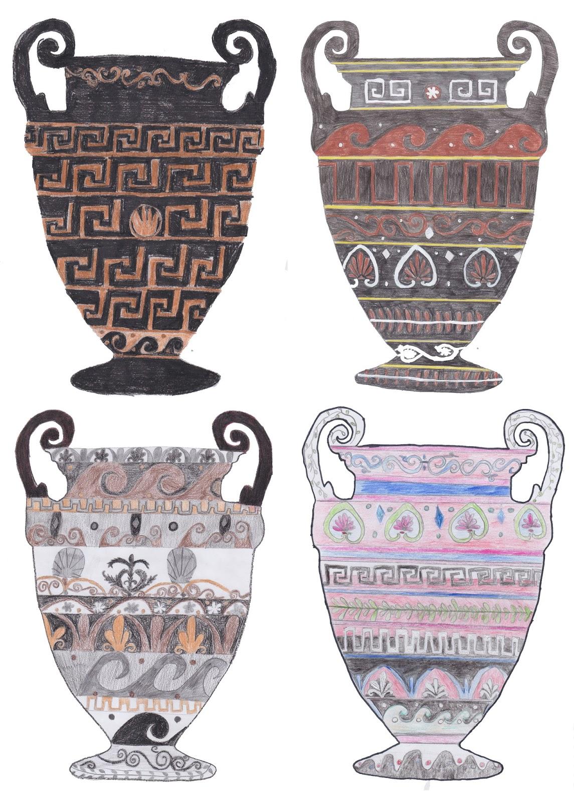 Prof argenti on line decora il vaso greco con le for Decorazione vasi