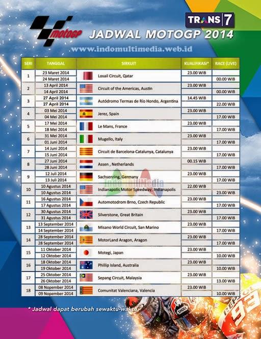 Jadwal MotoGP 2014 dan Jam Tayang Siaran Langsung Trans7