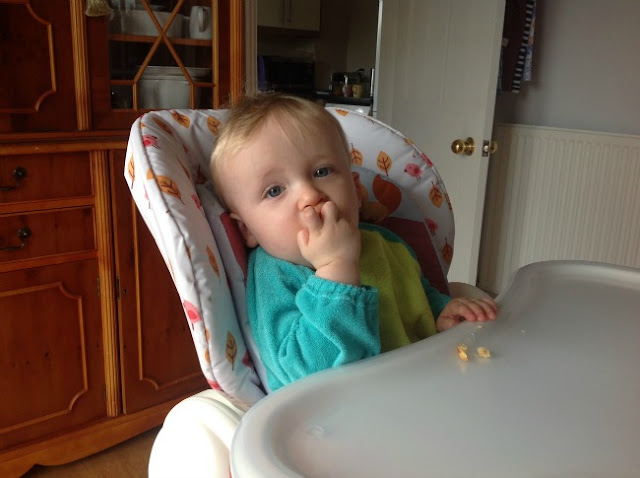 Toddler in highchair eating eggy bread.
