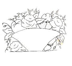 risco de cesta com rosas e frutas para pintar