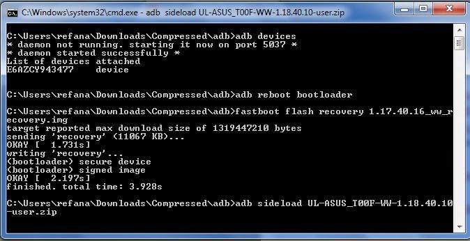 ADB Fast Boot Zenfone 5