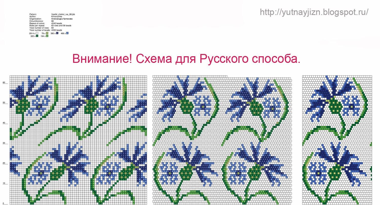 вышивка бисером васильки схемы