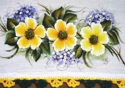 pintura em tecido e crochê pano de prato