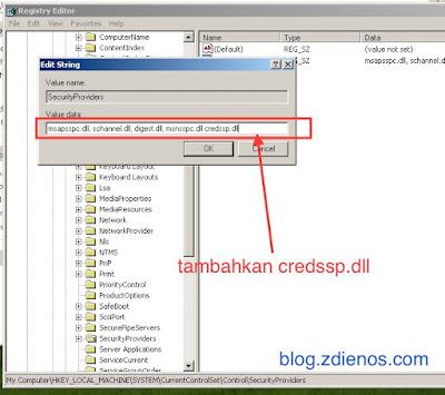 menambahkan string pada registry untuk mengaktifkan NLA pada windows XP