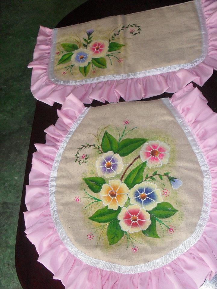 Pinceladas Rosarina : Juego de baño en tela y pintado