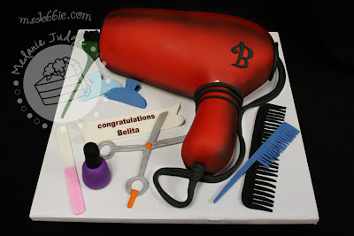 3-d carved blow dryer hair stylist cake