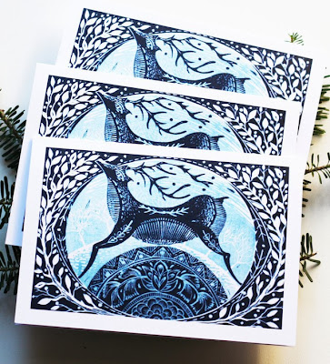 http://folksy.com/items/4872162-Pack-Of-Three-Winter-Deer-Christmas-Cards-Blue