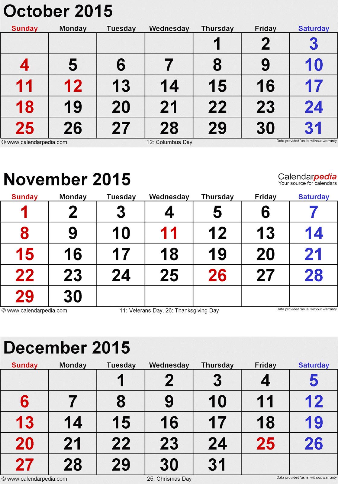 Oct Dec Calendar Printable Further 2015 Printable Calendar Oct Nov Dec ...