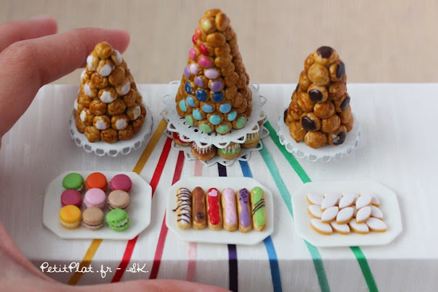Colorful miniature rainbow pastries and sweet