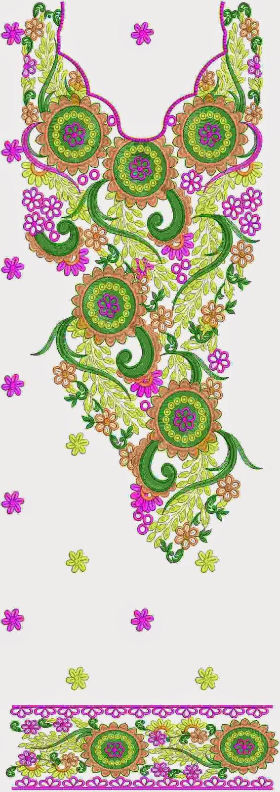 Stam borduurwerk ontwerp Kurti rok