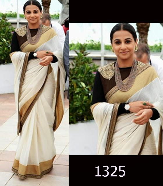 Vidya Balan in Sabyasachi white Traditional Saree at Cannes 2013