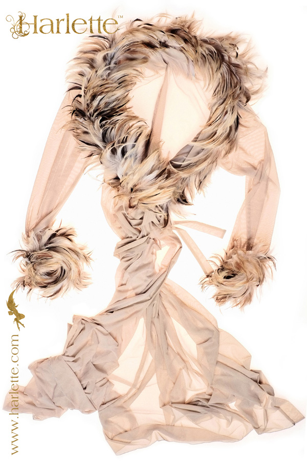 Huntress Savannah feather collar and cuff by Harlette Launched Paris Lingerie Show Jan 2013
