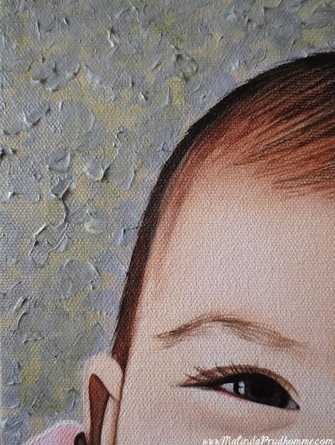 Art, artist, artwork, painting, portrait, portrait painting, baby, baby portrait, baby painting, baby art, custom, commission, toronto, toronto artist, toronto portrait artist, malinda prudhomme, realism, mixed media, oil painting, acrylic paint, little girl