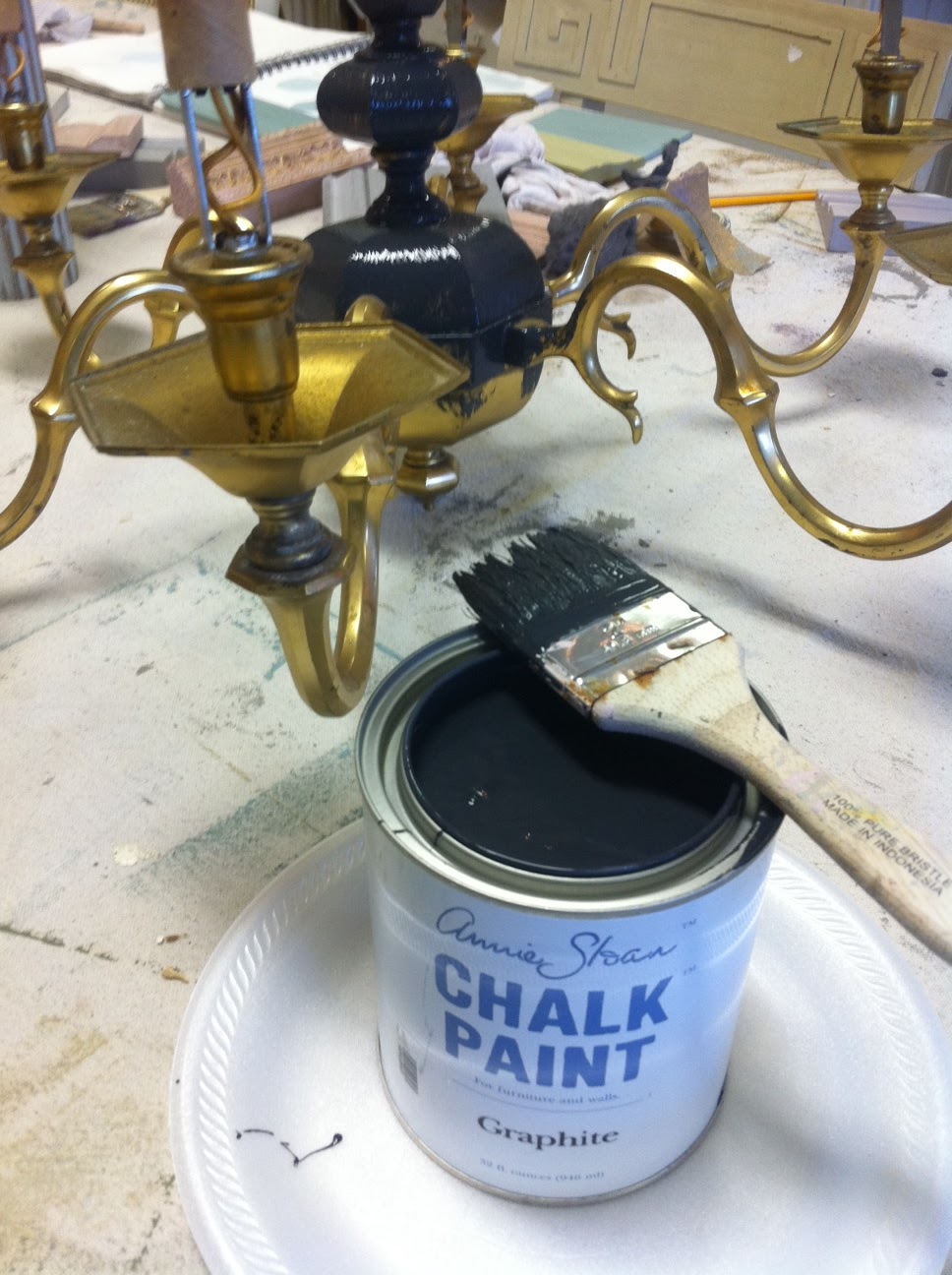 Maison decor painting a brass chandelier painting a brass chandelier arubaitofo Choice Image
