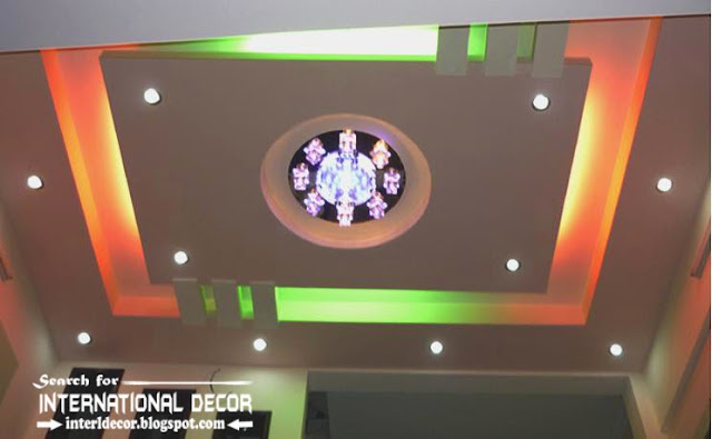 LED ceiling lights, LED strip lighting, false ceiling colored lighting