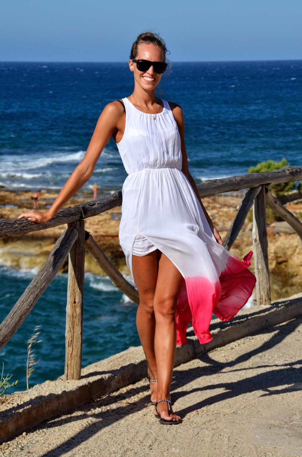 white gina tricot maxi dress hersonissos view
