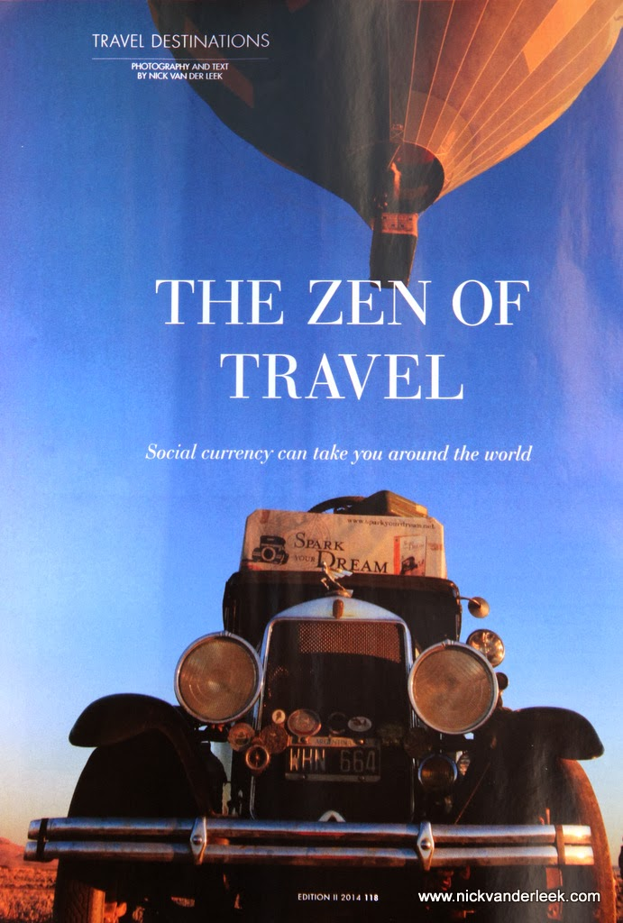 The Zen of Travel by Nick van der Leek.  6 page feature published in March 2014 Longevity Magazine