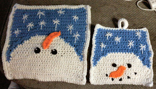 Shades of Safhire -crocheted snowman pot holder and pillow face