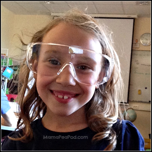 girl wearing science goggles