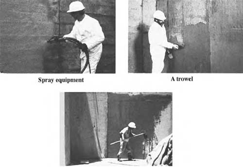 Spray, trowel, and brush applications of cementitious waterproofing.