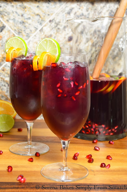 Red Wine Pomegranate Sangria is the perfect cocktail for Christmas or holiday entertaining! serenabakessimplyfromscratch.com