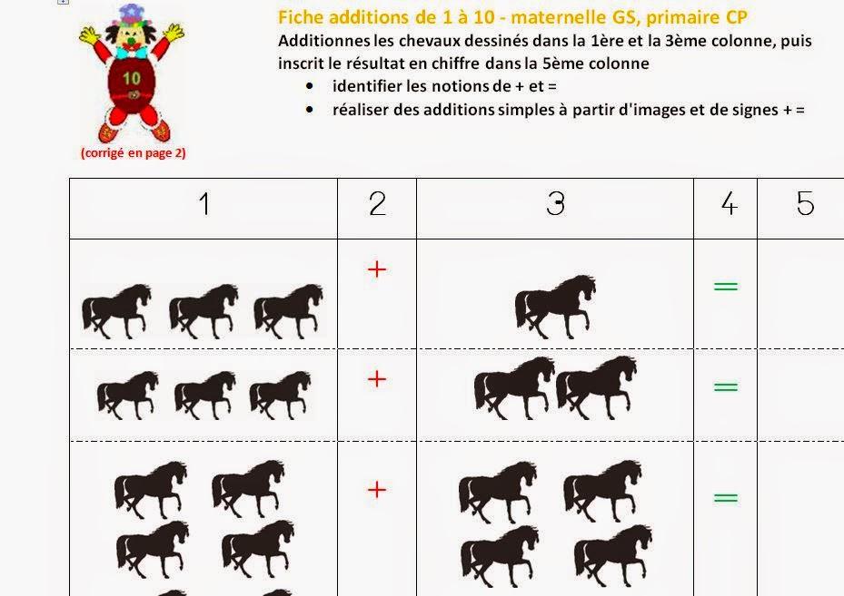 Fiche activité en maternelle, primaire : additionner jusqu'à 10 en comptant le nombre d'images
